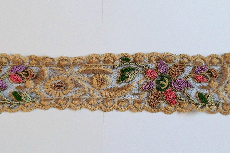 Antique Vintage lace beaded flower design trim embellis...