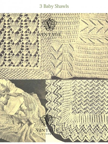 Vintage Knitting Baby Patterns : Vintage Knitting Pattern for 3 baby shawls