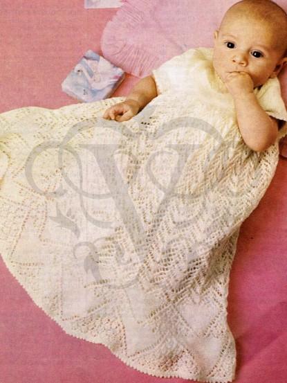 Baby Christening Gown Knitting Pattern Pdf