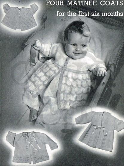 Vintage Knitting Pattern 4 Baby Matinee Jackets
