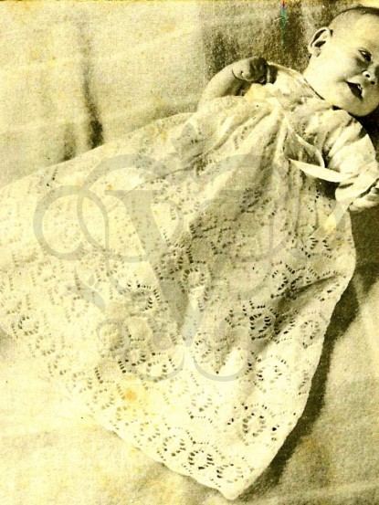 Vintage Knitting Pattern For Lace Baby Christening Gown