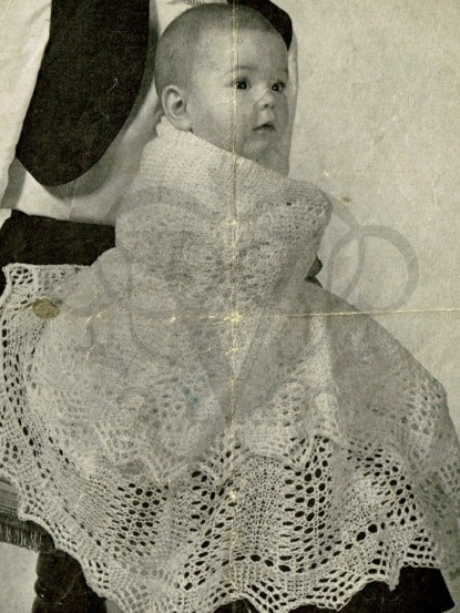 Knitting Pattern For Round Baby Shawl : Vintage baby shawl knitting pattern-circular lace shawl