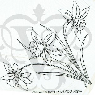 Vintage Iron On Embroidery Transfer Daffodils, Narcissu...