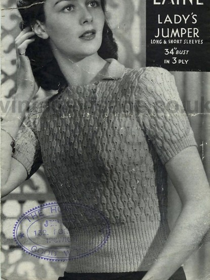 Vintage Knitting Pattern-How to make a 1940s lace jumper ...