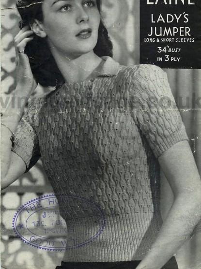 1930s Christmas tree jumper knitting pattern