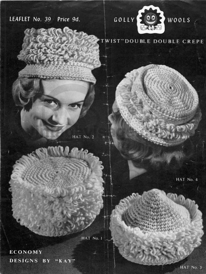 Vintage 1950s Crochet Pattern- hats in loop stitch pdf