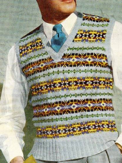 1950s fair isle jumper vintage knitting pattern