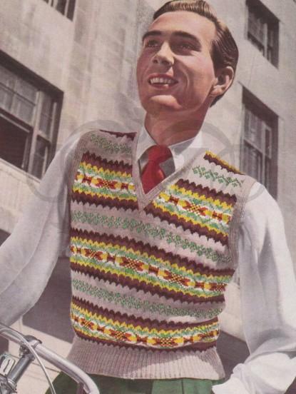Mens Fairisle Pullover Knitting Pattern