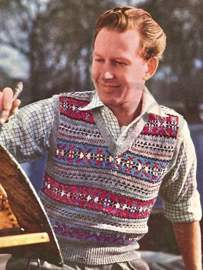 fair isle jumper vintage knitting pattern