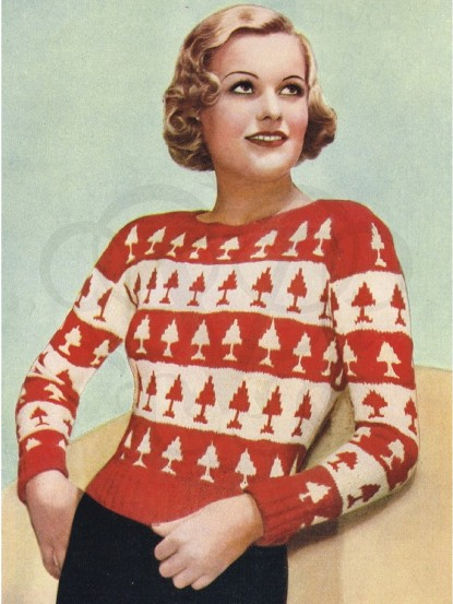 1930s Christmas Tree Jumper Knitting Pattern