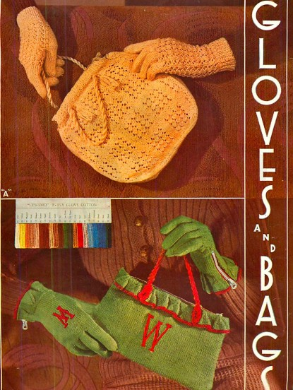1930s Gloves And Bags Vintage Knitting Pattern