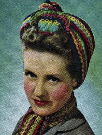 1940s Wartime Knitted Turban And Scarf Knitting Pattern