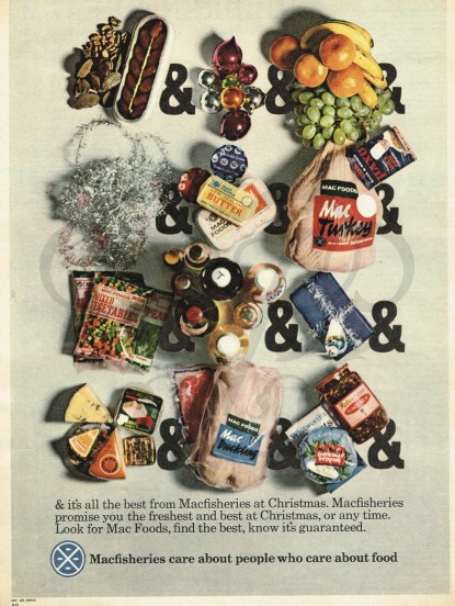 Vintage 'Macfisheries supermarket' Christmas Food adver...