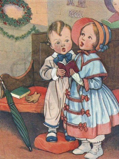 Vintage Victorian Christmas Digital Image- children sin...