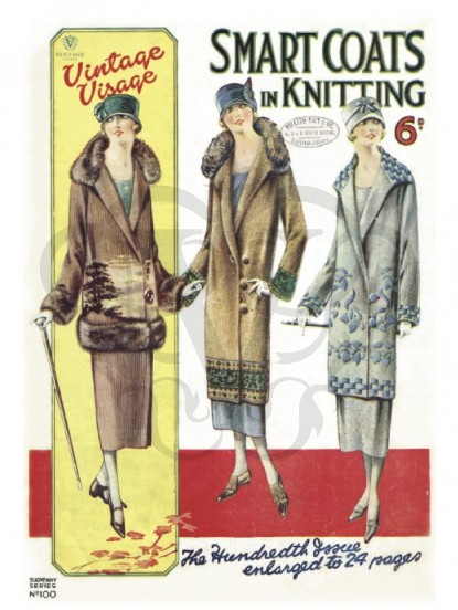 Vintage 1920s fashion Postcard- knitted coats
