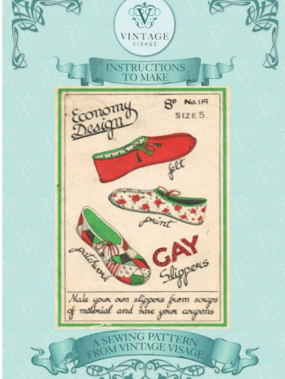 Vintage 1940s 'Rag Bag' slippers sewing pattern
