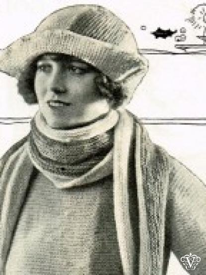 1920s Easy Knit Hat And Scarf Pattern