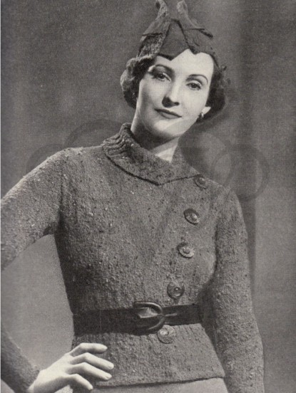 a5ea8ed97 Vintage stylish 1930s hat and jacket knitting pattern