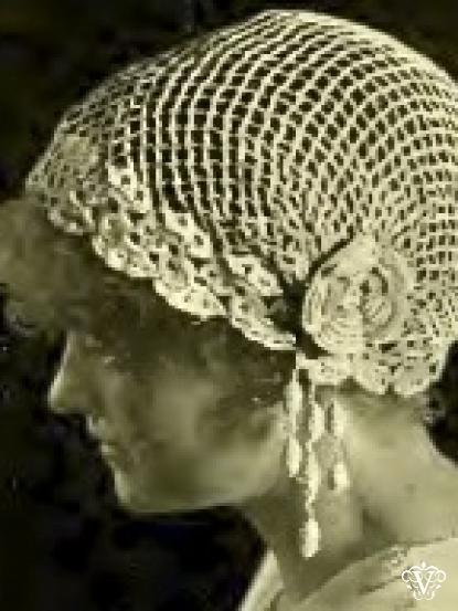 1900s Lace Boudoir Cap Hat Crochet Pattern