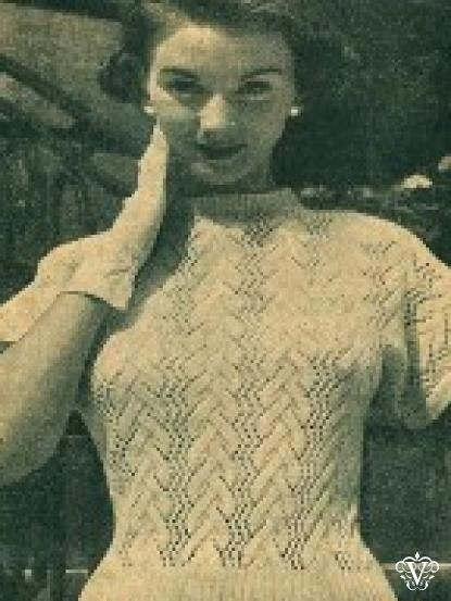 1954 Knitting patterns booklet - 7 patterns inc jumpers, (fair ...