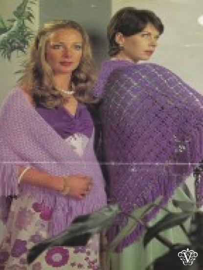 2 easy make DK vintage shawl patterns- 1 knitted, 1 crochet