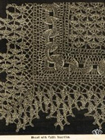 Vintage Victorian Crochet Lace Shawl With Cable Insertion