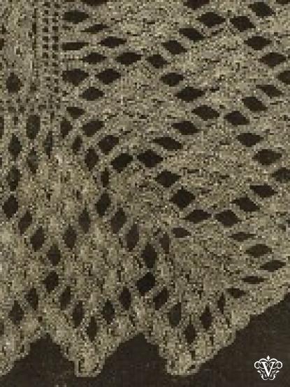 Vintage Victorian Crochet Lace Shawl Pattern With Diamond Pattern