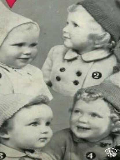 Vintage 1950s Knitting Pattern For 4 Childrens Hats