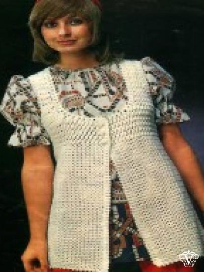 1960s long crochet waistcoat crochet pattern 4ply