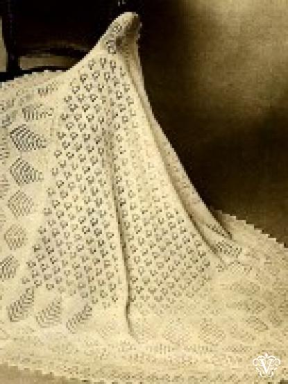 Shetland Lace Baby Heirloom Shawl Vintage Knitting Pattern 2 Ply