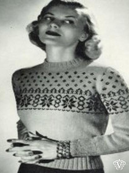 Ladies Vintage Snowflake Jumper Knitting Pattern