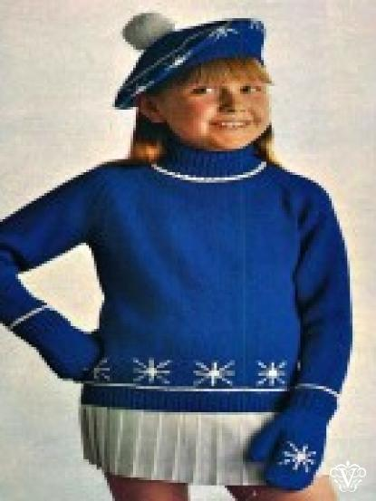 Snowflake Design Jumper Beret And Mittens Knitting Pattern For